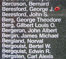 Memorial– Warrant Officer Class II George James Beresford is also commemorated on the Bomber Command Memorial Wall in Nanton, AB … photo courtesy of Marg Liessens