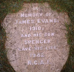 Memorial– Memorial to J.S.Evans RCAF, All Saints Churchyard, Roskear, Camborne Cornwall UK.