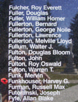 Memorial– Flying Officer Harvey George Funkhouser is also commemorated on the Bomber Command Memorial Wall in Nanton, AB … photo courtesy of Marg Liessens