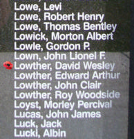 Memorial– Warrant Officer Class II David Wesley Lowther is also commemorated on the Bomber Command Memorial Wall in Nanton, AB … photo courtesy of Marg Liessens