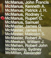 Memorial– Pilot Officer Rupert George McManus is also commemorated on the Bomber Command Memorial Wall in Nanton, AB … photo courtesy of Marg Liessens
