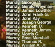 Memorial– Pilot Officer Kenneth James Murray is also commemorated on the Bomber Command Memorial Wall in Nanton, AB … photo courtesy of Marg Liessens