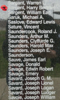 Memorial– Sergeant Navigator (Bomber) Harry Bertram John Sargent is also commemorated on the Bomber Command Memorial Wall in Nanton, AB … photo courtesy of Marg Liessens