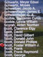 Memorial– Pilot Officer Foster William Jack Scott is commemorated on the Bomber Command Memorial Wall in Nanton, AB … photo courtesy of Marg Liessens