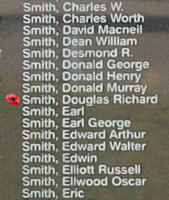 Memorial– Flight Sergeant Douglas Richard Smith is also commemorated on the Bomber Command Memorial Wall in Nanton, AB … photo courtesy of Marg Liessens