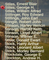 Memorial– Sergeant George Herbert Stiles is commemorated on the Bomber Command Memorial Wall in Nanton, AB … photo courtesy of Marg Liessens