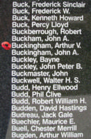 Memorial– Sergeant Arthur Victor McDonald Buckingham is also commemorated on the Bomber Command Memorial Wall in Nanton, AB … photo courtesy of Marg Liessens