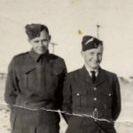 Photo of Bud McComb with Jack Porter– Bud and I.  Photo taken on leave in Medicine Hat while I was with South Alberta Regiment.