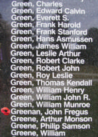 Memorial– Flying Officer John Fergus Greenan is also commemorated on the Bomber Command Memorial Wall in Nanton, AB … photo courtesy of Marg Liessens