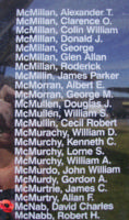 Memorial– Flight Sergeant David Charles McNab is also commemorated on the Bomber Command Memorial Wall in Nanton, AB … photo courtesy of Marg Liessens