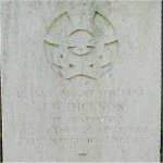 Grave Marker– Marker stone to Flt Sgt J. W. Dickson in Scopwick Church Burial Ground, Lincolnshire, England.  Personal inscription reads: Until the break of day and the shadows flee away.
