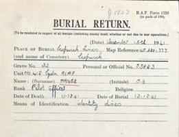 Burial Card– Submitted for the project, Operation Picture Me