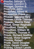 Memorial– Sergeant George Kenneth Proctor is commemorated on the Bomber Command Memorial Wall in Nanton, AB … photo courtesy of Marg Liessens