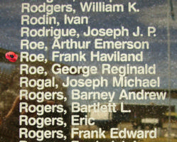 Memorial– Flight Sergeant Frank Haviland Roe is also commemorated on the Bomber Command Memorial Wall in Nanton, AB … photo courtesy of Marg Liessens