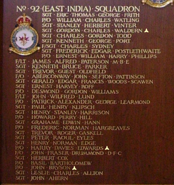 Inscription– Pilot Officer Harry Davies Edwards is also commemorated at St George's Royal Air Force Chapel of Remembrance - Biggin Hill … name on the panels that surround the Altar … Photo courtesy of Marg Liessens