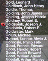 Memorial– Sergeant Joseph John Goldspink is also commemorated on the Bomber Command Memorial Wall in Nanton, AB … photo courtesy of Marg Liessens