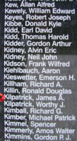 Memorial– Flight Sergeant James Augustus Kilpatrick is also commemorated on the Bomber Command Memorial Wall in Nanton, AB … photo courtesy of Marg Liessens