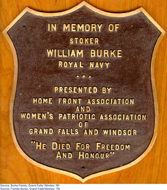 A plaque presented to the Burke family