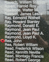 Memorial– Pilot Officer John Rea is also commemorated on the Bomber Command Memorial Wall in Nanton, AB … photo courtesy of Marg Liessens