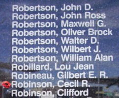 Memorial– Flight Sergeant Cecil Raymond Robinson is also commemorated on the Bomber Command Memorial Wall in Nanton, AB … photo courtesy of Marg Liessens