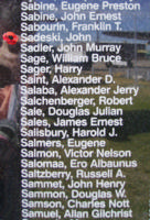 Memorial– Sergeant John Sadeski is also commemorated on the Bomber Command Memorial Wall in Nanton, AB … photo courtesy of Marg Liessens