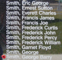 Memorial– Sergeant George Barry Don Smith is commemorated on the Bomber Command Memorial Wall in Nanton, AB … photo courtesy of Marg Liessens