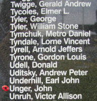 Memorial– Pilot Officer John Unger is also commemorated on the Bomber Command Memorial Wall in Nanton, AB … photo courtesy of Marg Liessens