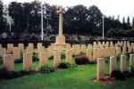 Cemetery– F/O Frederick Sinclair Buck,age 25, served on 101 (RAF) Squadron.  He was pilot on Lancaster ED 377, which took part in the following key operations: Essen 11/12 Jan 43; Berlin 16/17Jan-aborted; Berlin 17/18 Jan43; Hamburg 30/31 Jan43; Lorient 13/14 Feb 43; Milan 14Feb 43, battle damaged and repaired on station returned to service; Berlin 27/28 Mar 43; Pilsen 16/17 Apr 43; Stettin 20/21Apr 43; Dortmund 23/24 May 43; Dusseldorf 25/26 May 43; Dusseldorf 11/12 Jun 43. Their last operation was 27/28 Jun 43 on a mining (¿gardening¿) OP to the Frisian Islands off La Pallice and in the Gironde estuary, France.  Fifteen Lancasters and 15 Stirlings participated, and Lancaster ED 377 was lost. F/O Buck was the only Canadian on board. [Source: lostbombers.co.uk] His brother, Gordon, age 19, died of meningitis in Holland June 26, 1945, and is buried in Nijmegen.