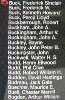 Memorial– Flying Officer Frederick Sinclair Buck is also commemorated on the Bomber Command Memorial Wall in Nanton, AB … photo courtesy of Marg Liessens