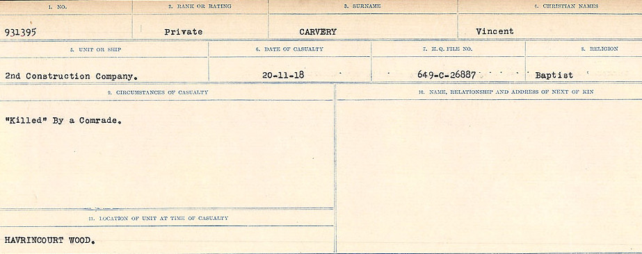 Circumstances of Death Registers– Source: Library and Archives Canada.  CIRCUMSTANCES OF DEATH REGISTERS, FIRST WORLD WAR Surnames:  Canavan to Caswell. Microform Sequence 18; Volume Number 31829_B016727. Reference RG150, 1992-93/314, 162.  Page 843 of 1004.  