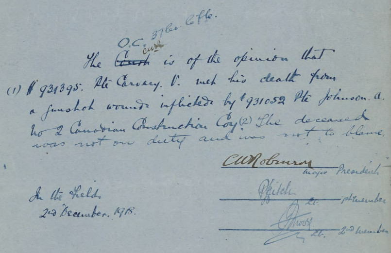 Document– Proceedings of Court of Enquiry held on December 2, 1918 into the death of Private Vincent Carvery.  