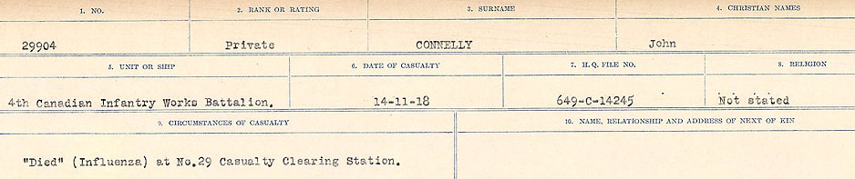 Circumstances of Death Registers– Source: Library and Archives Canada.  CIRCUMSTANCES OF DEATH REGISTERS, FIRST WORLD WAR Surnames:  CLEAL TO CONNOLLY.  Microform Sequence 21; Volume Number 31829_B016730. Reference RG150, 1992-93/314, 165.  Page 1319 of 1384.