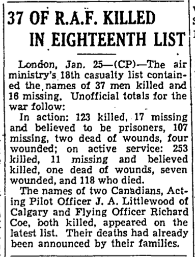 Newspaper clipping– From the Toronto Star January 1940. Submitted for the project Operation Picture Me