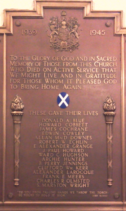 Memorial– A memorial tablet at St Andrew's Church in Ottawa is dedicated to the members of the Congregation whose lives were sacrificed in World War II.