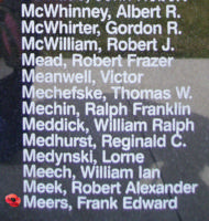 Memorial– Observer Frank Edward Meers is also commemorated on the Bomber Command Memorial Wall in Nanton, AB … photo courtesy of Marg Liessens