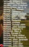 Memorial– Sergeant John Allen McPhee is also commemorated on the Bomber Command Memorial Wall in Nanton, AB … photo courtesy of Marg Liessens