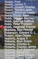 Memorial– Flight Sergeant Reginald Francis Robb is also commemorated on the Bomber Command Memorial Wall in Nanton, AB … photo courtesy of Marg Liessens