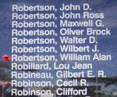 Memorial– Sergeant William Alan Robertson is also commemorated on the Bomber Command Memorial Wall in Nanton, AB … photo courtesy of Marg Liessens