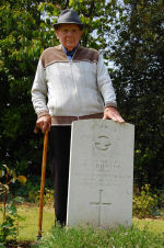 Remembering– Grandad Roy Scott, MBE stood by the grave of Harry Albert Rideout on the  28th of May 2008.