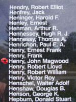 Memorial– Observer John Magwood Henry is also commemorated on the Bomber Command Memorial Wall in Nanton, AB … photo courtesy of Marg Liessens