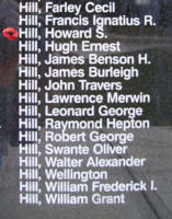 Memorial– Squadron Leader Howard Stephenson Hill is also commemorated on the Bomber Command Memorial Wall in Nanton, AB … photo courtesy of Marg Liessens