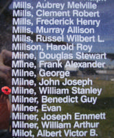 Memorial– Flight Sergeant William Stanley Milne is also commemorated on the Bomber Command Memorial Wall in Nanton, AB … photo courtesy of Marg Liessens