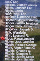 Memorial– Pilot Officer Raoul Joseph Rioux is commemorated on the Bomber Command Memorial Wall in Nanton, AB … photo courtesy of Marg Liessens