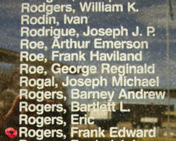 Memorial– Flight Sergeant Frank Edward Rogers is also commemorated on the Bomber Command Memorial Wall in Nanton, AB … photo courtesy of Marg Liessens