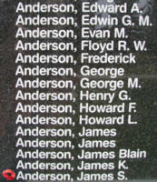 Memorial– Flight Sergeant James Sangster Anderson is also commemorated on the Bomber Command Memorial Wall in Nanton, AB … photo courtesy of Marg Liessens