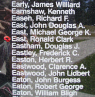 Memorial– Flying Officer Ronald Clark East is also commemorated on the Bomber Command Memorial Wall in Nanton, AB … photo courtesy of Marg Liessens