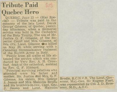 Press Clipping– Lieutenant George Derek Gibsone tribute Montreal Star June 13 1944 Courtesy McGill University Archives