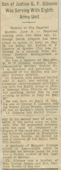Press Clipping– Lieutenant George Derek Gibsone tribute Montreal Gazette June 9 1944 Courtesy McGill University Archives