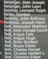 Memorial– Flight Sergeant Joseph Henri Alphonse Onil Beliveau is also commemorated on the Bomber Command Memorial Wall in Nanton, AB … photo courtesy of Marg Liessens