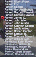 Memorial– Flying Officer James Courtland Parker is commemorated on the Bomber Command Memorial Wall in Nanton, AB … photo courtesy of Marg Liessens